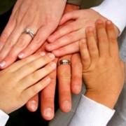 Bride, Groom and children's hands