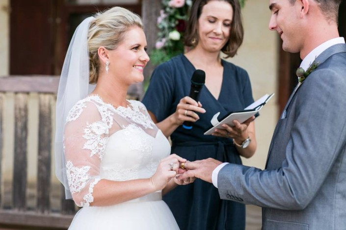 Bride and groom ring exchange