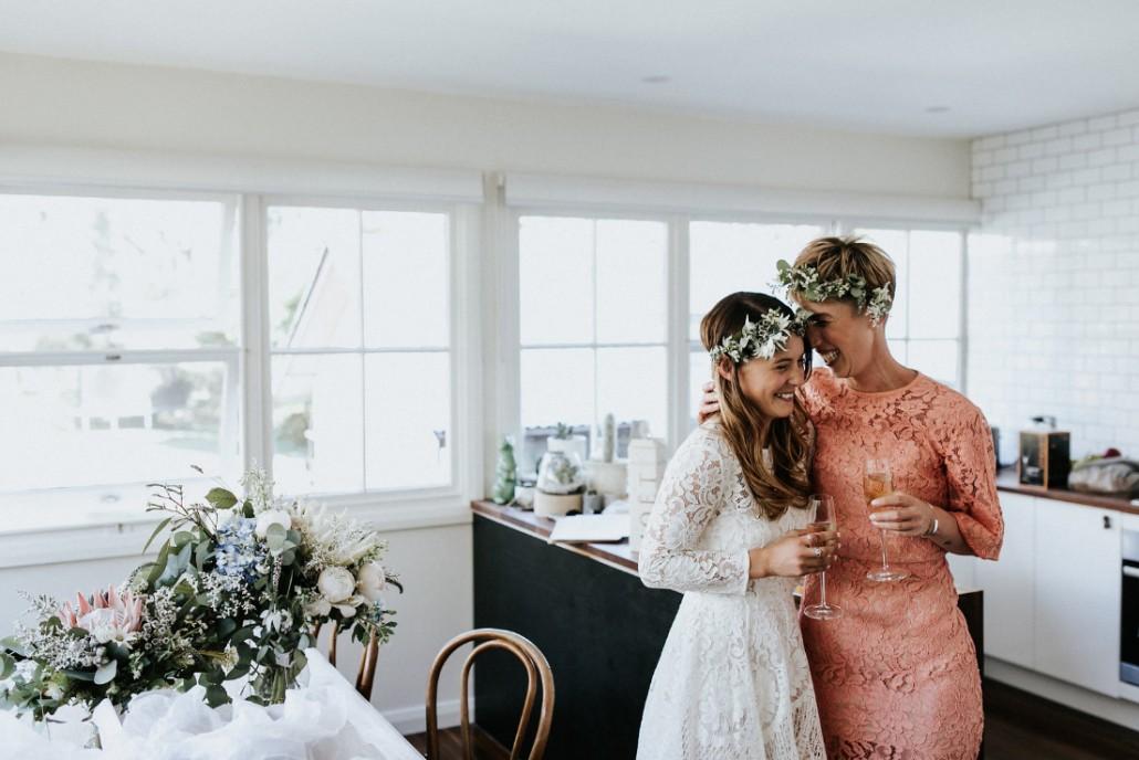 Bride and Bridesmaid enjoy a champagne pre-ceremony - Andrea Calodolce Ceremonies - Sydney Celebrant