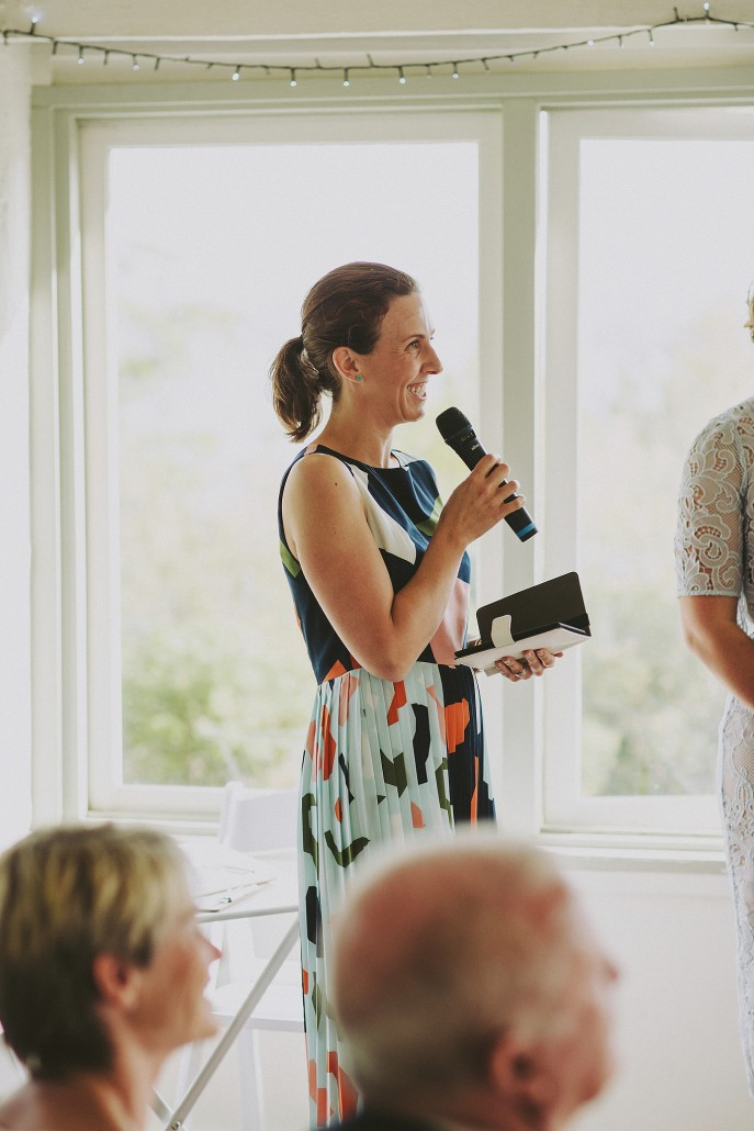 Marriage celebrant with microphone - Andrea Calodolce - Sydney Celebrant