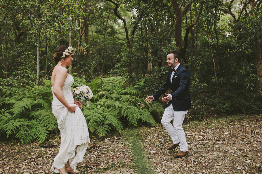 Bride and groom first look | Andrea Calodolce marriage celebrant Sydney