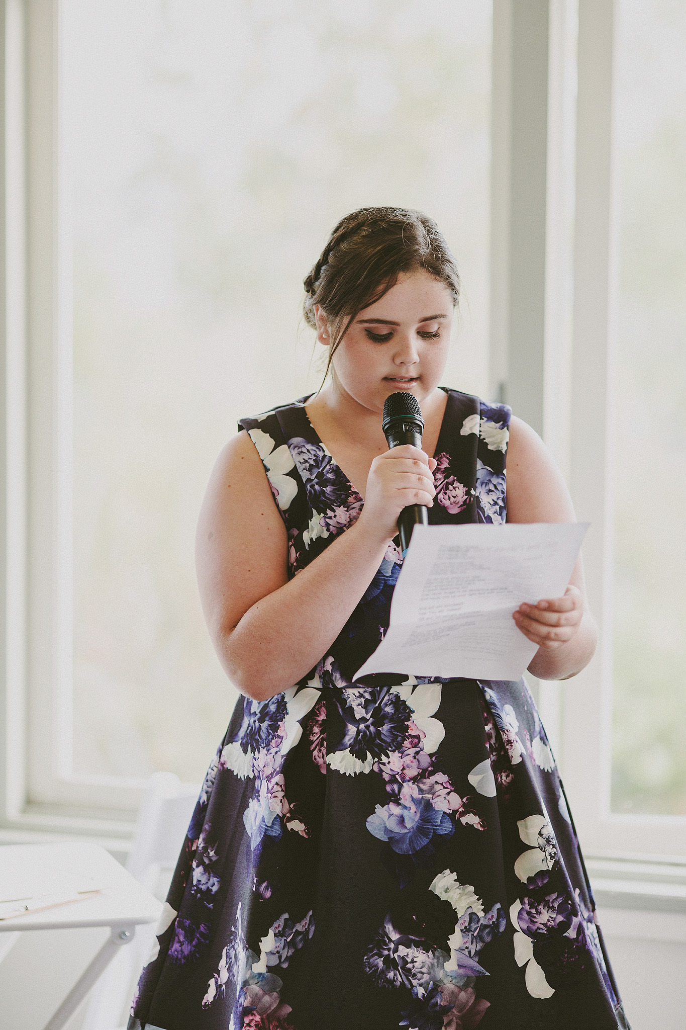 Young girl doing a reading at a wedding | Andrea Calodolce Marriage Celebrant Sydney
