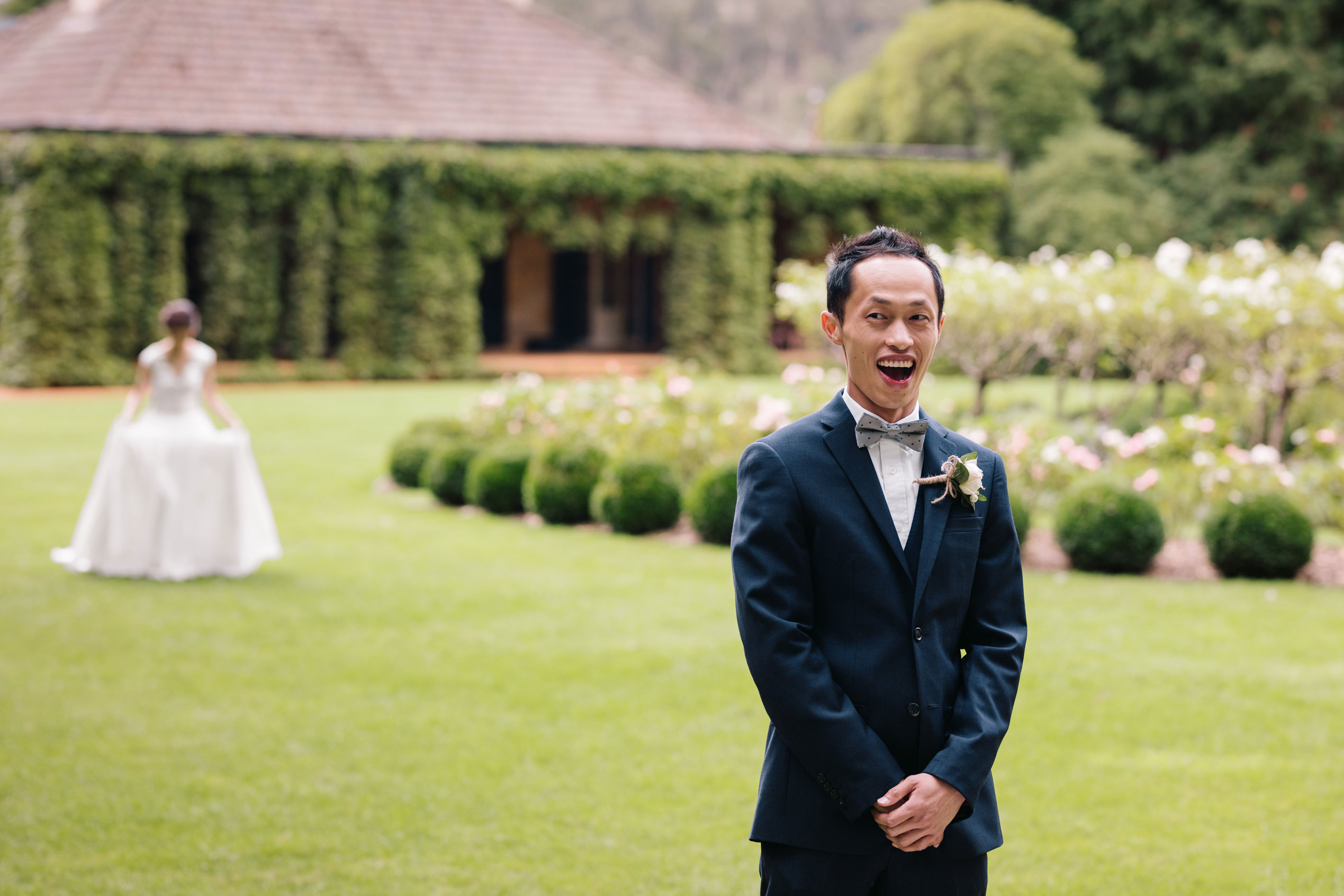 Groom excited to see bride for the first time - first look