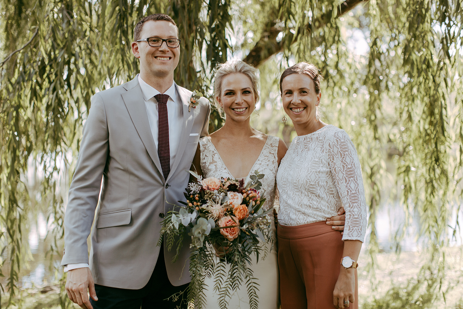 Sydney wedding celebrant Andrea Calodolce with bride and groom after ceremony