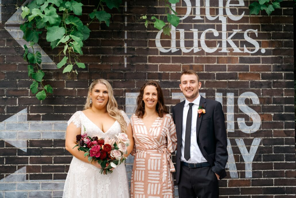 bride and groom with celebrant Andrea Calodolce