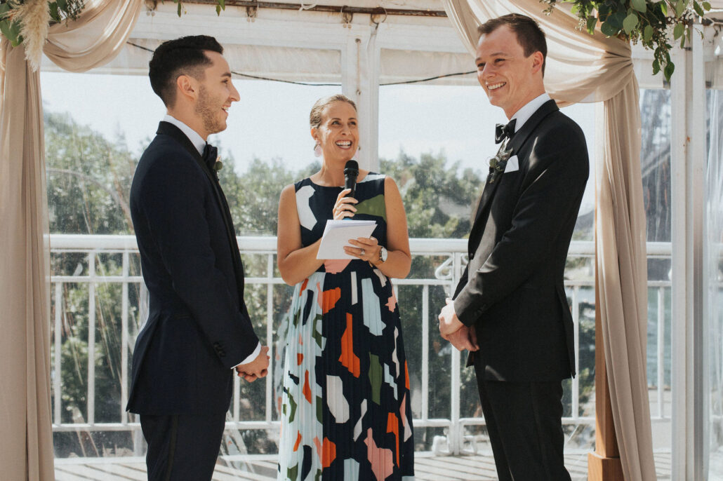 Groom and groom with celebrant